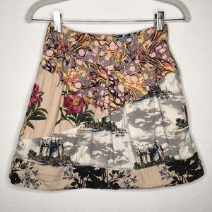 Anthro Leifnotes Flora Fortress Mini Skirt Size 2